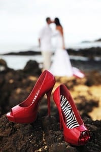 Hot Red Shoes on Hawaiian Lava