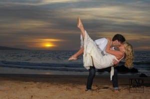 Honeymoon Kiss  with a Maui Sunset