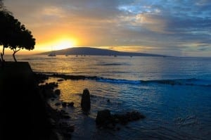 Sun setting over Lanai taken from Front St. Maui