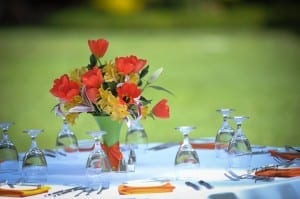 Simple Flowers for the tables @ Oluwalu Plantation House