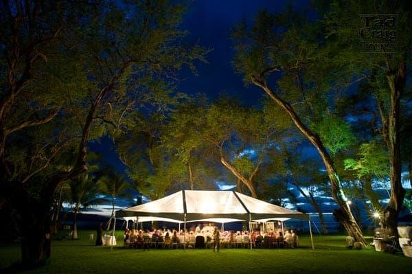 wedding tent at night at the Sugarman's Estate on Maui, Hawaii