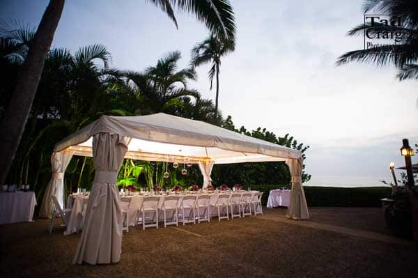 wedding table decorated with flowers outside at Merriman's Kapalua Maui