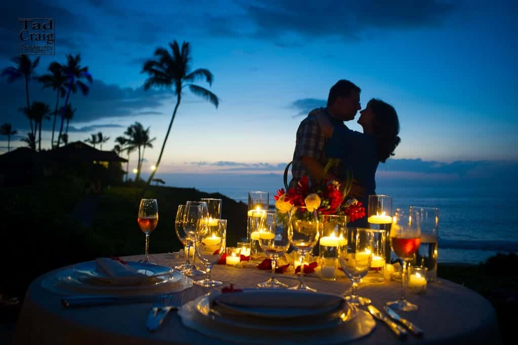 bride and groom getting married in the maui jungle while muscian plays ukulele